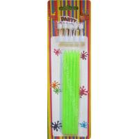 Cheap Tall Slender Glitter Birthday Candles 10 White Holders Fluorescent Green for sale