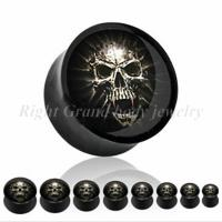 Cheap Custom 8mm, 10mm, 12mm Epoxy Skull Black UV Acrylic Ear Expander Plugs Without Tags for sale