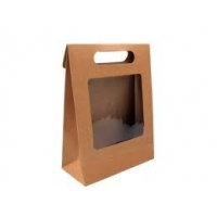 Cheap Biodegradable 160gsm Paper Bags With Clear Window for sale