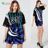 Buy cheap Breathable Sparkle Bling Sequin T Shirt Dress With Numbers Anti - Shrink from wholesalers