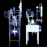Cheap 100L Vacuum Distillation Chemical Single Layer / Double Jacket Reaction Mixing Solvent Tank with Glass Distillation for sale