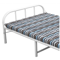 Cheap Portable Folding 0.6mm White Metal Single Bed With Mattress for sale
