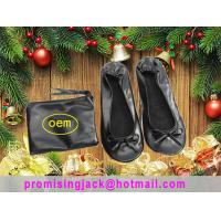 Cheap 2018 New Christmas Gift China Silver and Black Folding Ballet Slippers in a Purse for Dancing Party for sale
