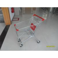 Buy cheap Steel Supermarket Shopping Carts 60L With red plastic parts and safety babyseat from wholesalers
