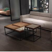 Cheap Living Room Square Shaped Metal Frame Wooden Modern Coffee Table for sale
