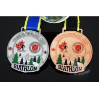 Cheap Canada Sports Skiing Events Custom Metal Medals, Raised Metal Shiny And Recess Mett Effect, Sublimated Ribbon for sale