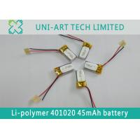 Buy cheap multi-function small sized li-ion battery 401020 45mAh with PCB and leading from wholesalers