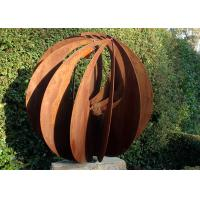 Cheap Corten Steel Hollow Outdoor Metal Sphere Sculpture Various Size Available for sale