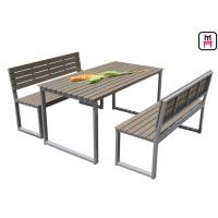 Cheap Plastic Wood Outdoor Restaurant Tables Commercial KD Patio Dining Sets With Bench for sale