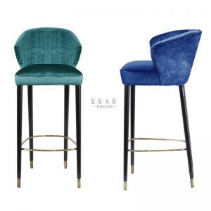 Cheap Modern Restaurant Chair Oak Wood Leg Fabric Bar Stool With Back for sale