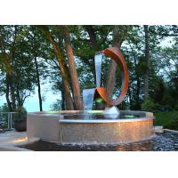 Cheap Contemporary Corten Steel Water Feature Fountain C Shape For Outdoor for sale