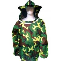 Cheap Beekeeping Protective Clothing  Polyester Camouflage Beekeeping Jacket With Protective Beehat  Free Size for sale