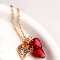 Quality Environmental Zinc Alloy Women's Red Strawberry and Leaves Pendant Necklace wholesale
