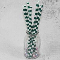 Cheap 12mm Large caliber pearl milk tea Green Horizontal stripes color Biodegradable Paper Drinking Straws for sale