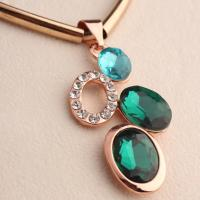 Quality Women's Blue Crystal Rhinestone Geometric Dot and Leather Rope Chain Clavicle wholesale