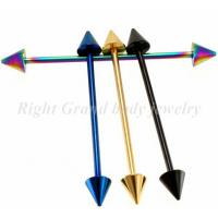Cheap Piercing 14g Steel Screw Spike Titanium Anodized Industrial Barbells Jewelry / Best Seller Tongue Rings Body Piercing for sale