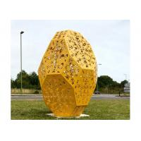 Cheap Huge Yellow Painted Metal Sculpture Stainless Steel Outdoor Public Sculpture for sale