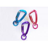 Cheap Colorful Aviation Aluminum Carabiner Clips Breaking Force 4KN Eco Friendly With Lock for sale