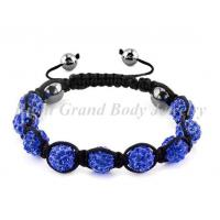 Cheap Blue Crystal & Clay & Hematite Beads Shamballa Bracelets For Female for sale