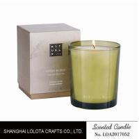 Cheap Handmade Scented Soy Candles , Long Lasting Scented Candles In Green Clear Bottle for sale