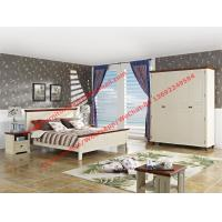 Mediterranean Style Apartment home use bedroom furniture by wood bed in white Beach panel and Brown rubber headboard