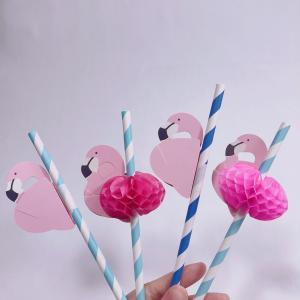 Cheap Paper straws for Party Flamingo cartoon paper straws Flamingo Pineapple pattern paper straws custom sticker for sale