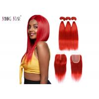 Buy cheap 99J Red Colored Bundles With Closure Straight Hair Bundles With Closure from wholesalers
