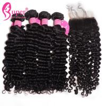 Cheap 3 Bundles Deal Brazilian Virgin Hair Extensions With Free Part Lace Closure for sale