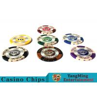 Cheap 14g Custom Clay Poker Chips With Mette Sticker 3.4mm Thickness for sale