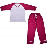 Cheap Embroidered Womens Cotton Knit Pajamas / Ladies Loungewear Sets Any Color Available for sale