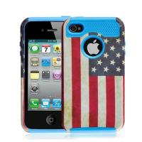 Cheap Blue Hard Plastic Case & USA Flag TPU Skin Combo Rugged Case For Iphone 4S for sale