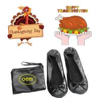 Cheap 2018 Hot Selling PU Material Roll up and Foldable Ballet Shoe with Free Bag, Thanksgiving Gift Shoes for sale