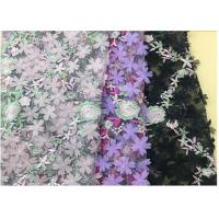 Cheap 3D Flower Embroidered Stretch Mesh Fabric , Coloured Tulle Lace Fabric for sale