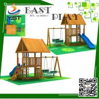 China CE Certificated Wooden Playground Equipment , Wooden Swing And Slide Set on sale