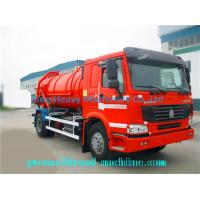 Cheap 6 Cubic Meters Diesel Sewage Suction Truck with 5m Suction Depth , Red for sale