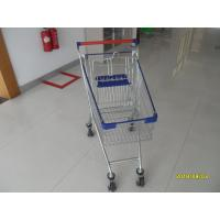 Buy cheap 80 L Steel Supermarket Shopping Carts With Blue Plastic Parts And Safety Babyseat from wholesalers
