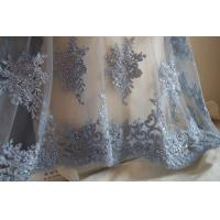 Cheap Pale Blue Beaded Embroidered 3D Flower Lace Fabric By The Yard For Wedding Dress for sale