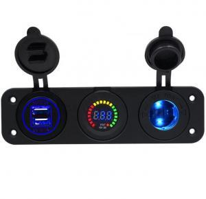Cheap Waterproof Car Boat 3 Hole Panel Dual 4.2A USB Car Charger Colorful LED Voltmeter 12V Cigarette Lighter Socket for sale