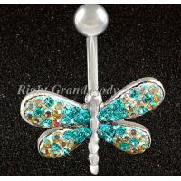Cheap Navel Dragonfly Belly Piercing Rings with 316L Surgical Steel for sale