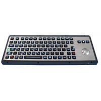 Cheap Brushed backlight industrial metal trackball keyboards for industrial & military for sale