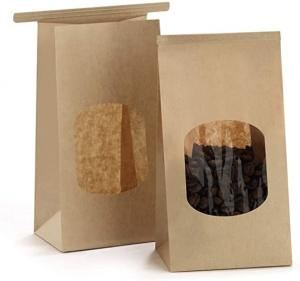 Cheap Kraft Reusable FSC Paper Bags With Clear Window for sale