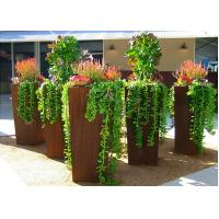 Cheap Modern Style Large Corten Steel Planter Boxes For Outdoor Decoration 80cm Height  for sale