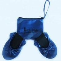 Cheap Stock and Discount Best Price Wholesale Navy Blue Roll Up Driving Shoes with OEM Printing Logo in a Bag for sale