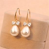 Cheap 18K Gold Plated Fashion Jewelry Pearl Earrings for Women Cute Adorable Look Bow Earrings White Earrings for Wedding for sale