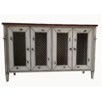 Cheap Bedroom Rustic White Wood TV Stand With Doors , Customized Solid Wood TV Cabinet for sale