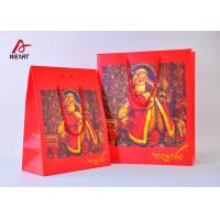 High End Red Color Cute Christmas Paper Bags With Handles Matte Lamination