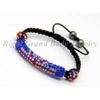 Cheap 45mm Curve Tube UK Flag Crystal Shamballa Bracelets with Hematite Bead For Engagement for sale