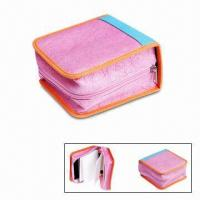 Cheap Nonwoven CD Holders, Made of PP/PU/EVA Cover, with Zipper Closure, Available in Pink for sale