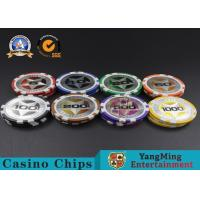 Cheap ABS Casino Poker Chips , Gambling Plastic Sticker Poker Chips Coins Yangming for sale