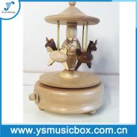 Cheap Carousel Horse Music Box Wooden Music Boxes, Mechanical Music Box Gift for sale